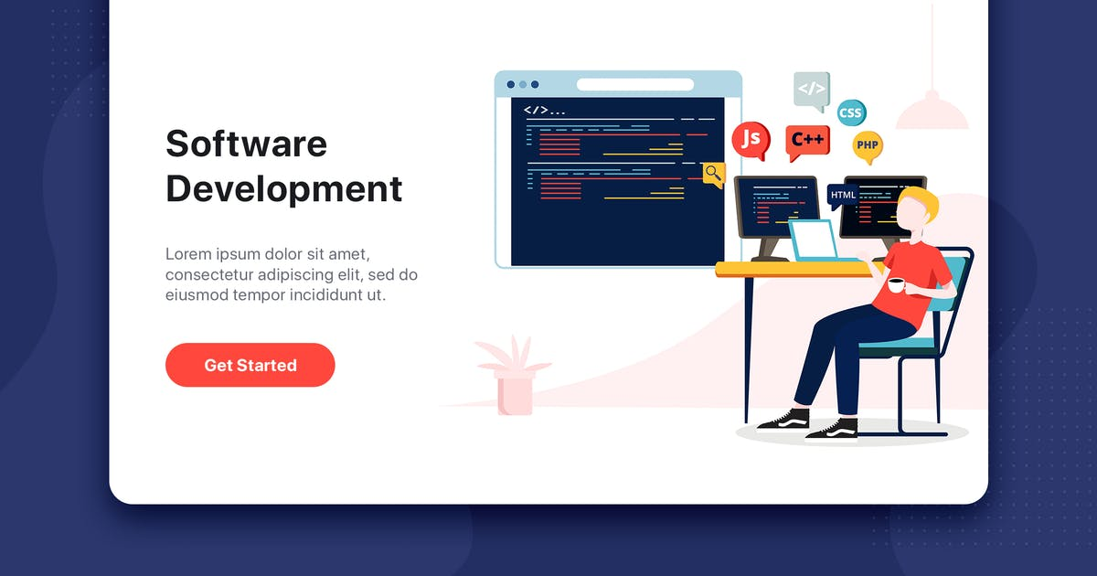 Download Software Development flat concept for Landing page by hoangpts