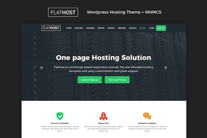 Thumbnail for FlatHost WordPress Hosting Theme + WHMCS