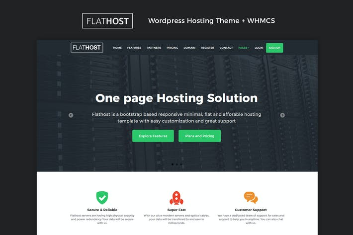 Flathost WordPress Hosting Thema + WHMCS