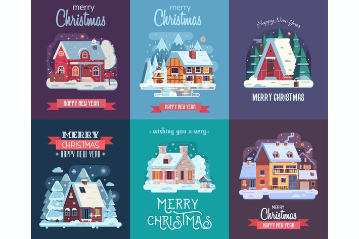 Christmas Cards with Cozy Snow Houses
