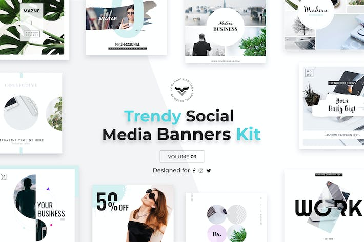 Thumbnail for Trendy Social Media Banners Pack III