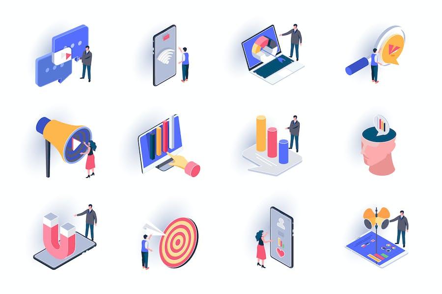 SMM Marketing Isometric Icons Pack