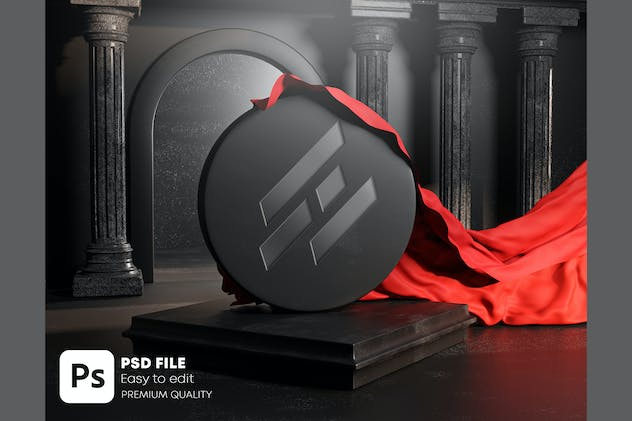Carved Logo Unveil Red Cloth Cover Mockup