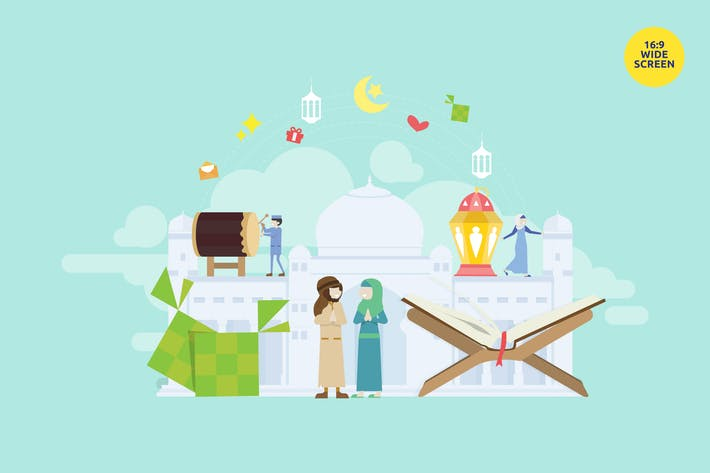 Thumbnail for Eid Mubarak Vector Illustration Concept 2