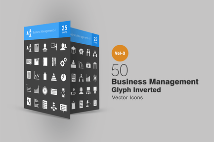 50 Business Management Glyph Inverted Icons