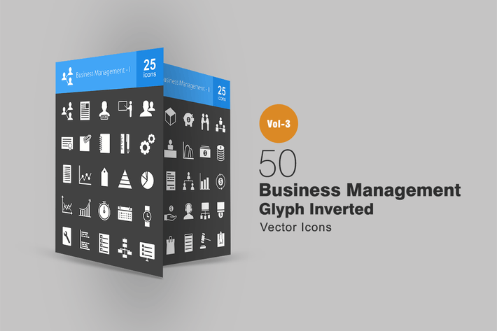 Thumbnail for 50 Business Management Glyph Inverted Icons