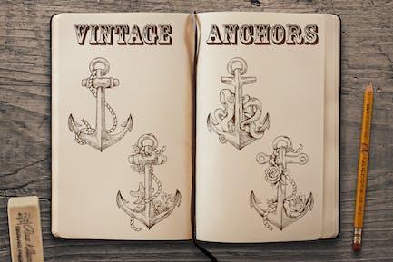 Vintage Hand Drawn Anchors