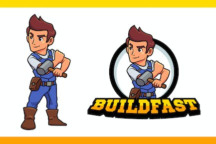 Construction Worker or Contractor Mascot Logo
