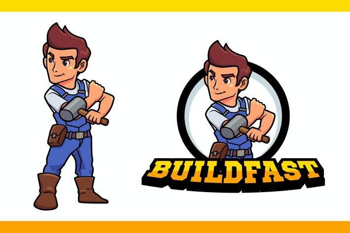 Thumbnail for Construction Worker or Contractor Mascot Logo