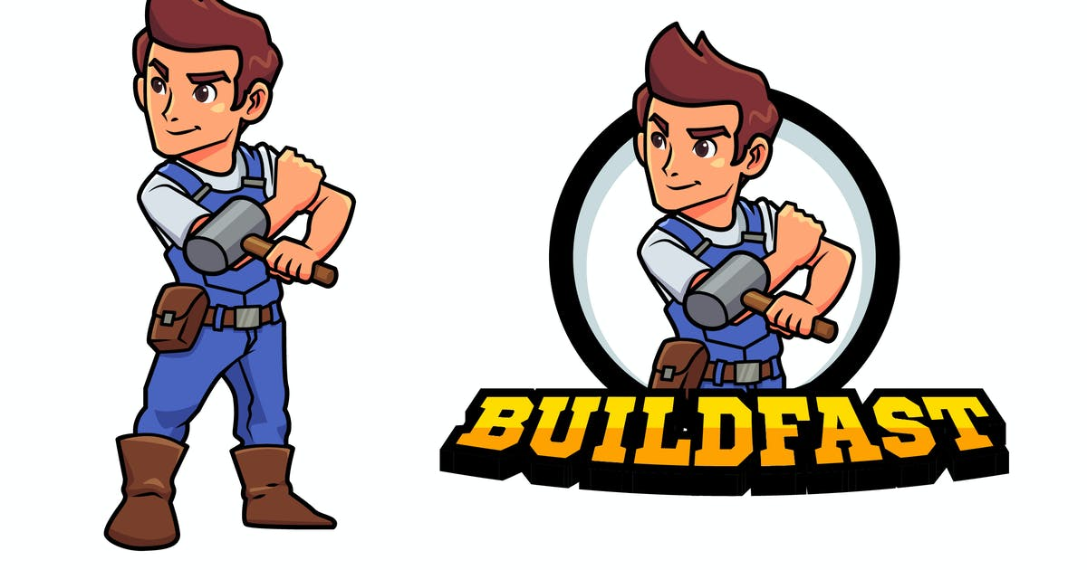 Download Construction Worker or Contractor Mascot Logo by Suhandi