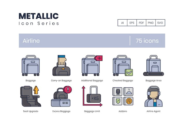Thumbnail for 75 Airline Icons - Metallic Series