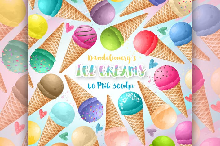 Thumbnail for Watercolor Ice Creams Clipart