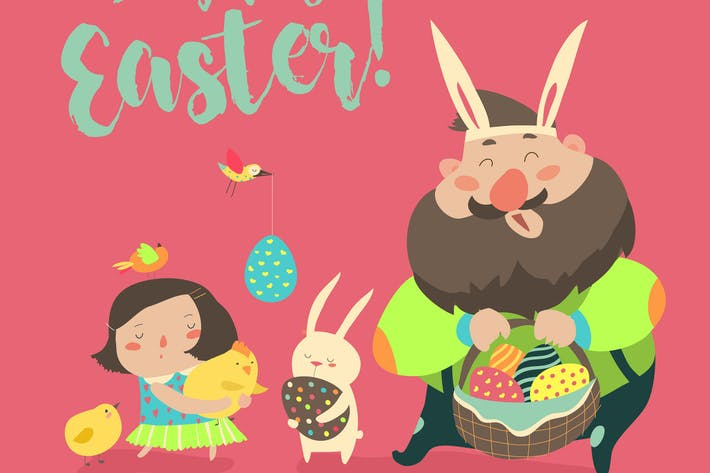 Thumbnail for Happy father with daughter celebrating Easter