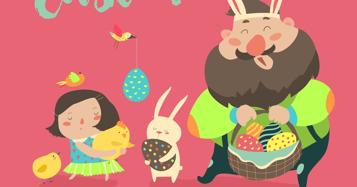 Download Happy father with daughter celebrating Easter by masastarus