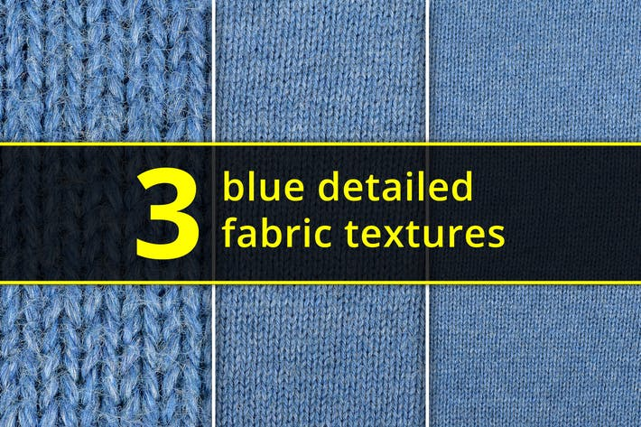 Thumbnail for Set of high resolution 3 blue fabric textures