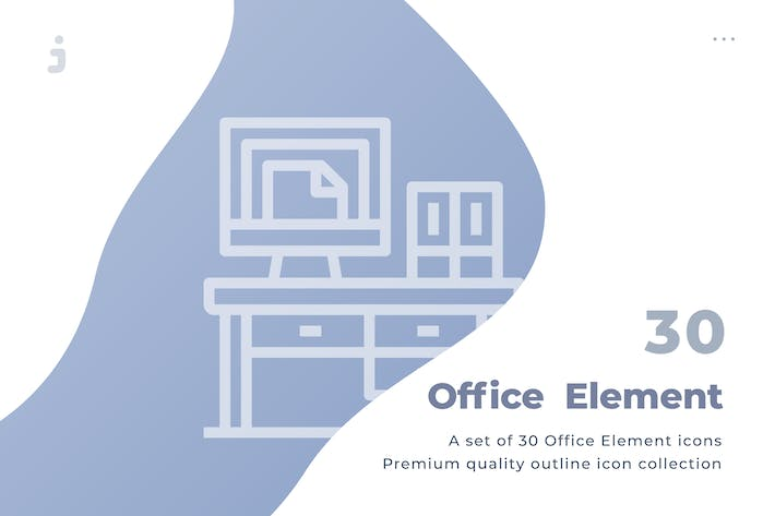 Thumbnail for 30 Office Element Icons