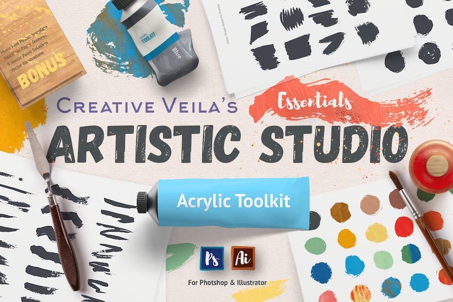 Künstlerisches Studio: Acryl Toolkit