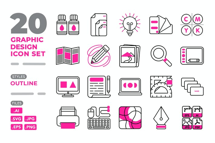 Thumbnail for Graphic Design Icon Set (Outline)