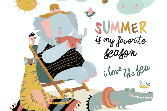 Thumbnail for Cute cartoon animals sunbathing on beach. Hello