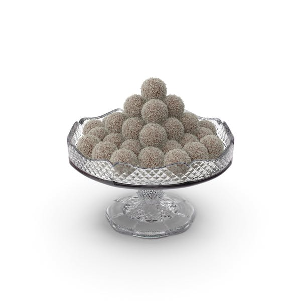 Fancy Crystal Bowl with Chocolate Balls with Coconut