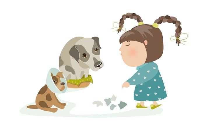 Thumbnail for Little girl punishing dogs. Vector