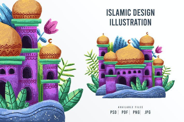 Islamic Mosque Design Illustration