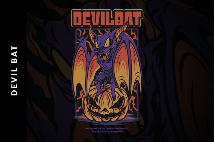 Thumbnail for Devil Bat Halloween Illustration