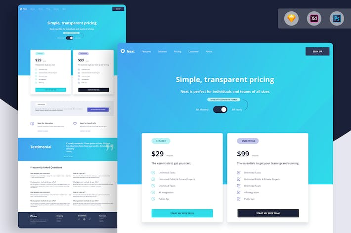 Thumbnail for Simple Pricing Table - Landing Page Template