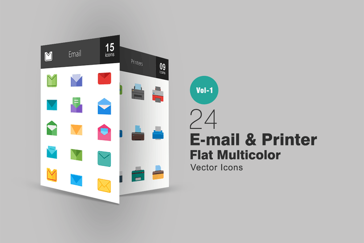 Thumbnail for 24 Email & Printer Flat Multicolor Icons