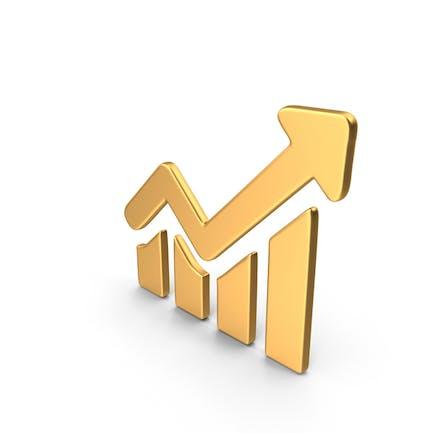 Símbolo de gráfico de crecimiento dorado