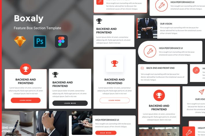 Cover Image For Boxaly - Feature Box UI Kit Template