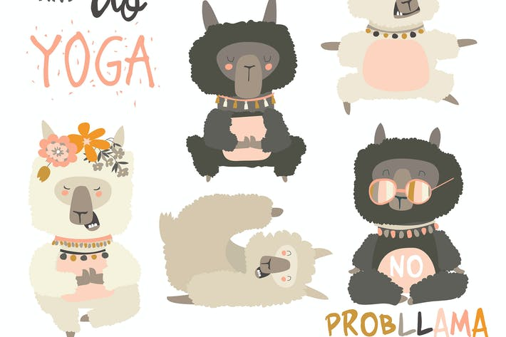 Thumbnail for Cute llama alpaca in yoga postures. Vector set