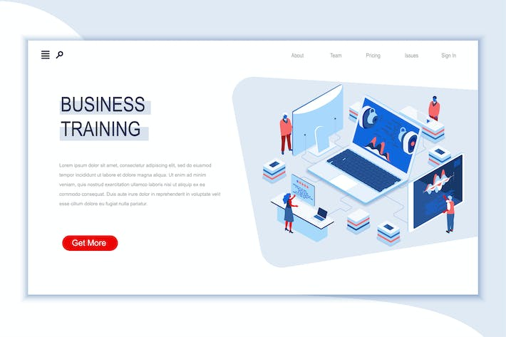Thumbnail for Business Training Isometric Banner Flat Concept