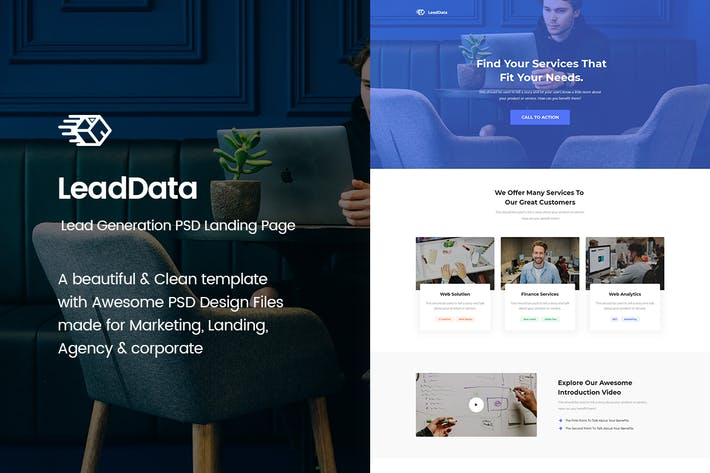 Thumbnail for LeadData - Lead Generation PSD Landing Page