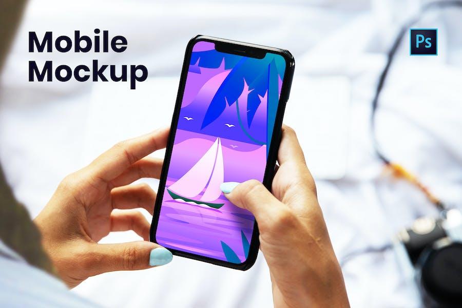Mobile with Hand Mockup