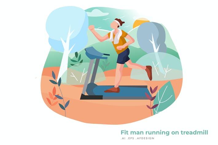 Thumbnail for Fit man running on treadmill Vector Illustration