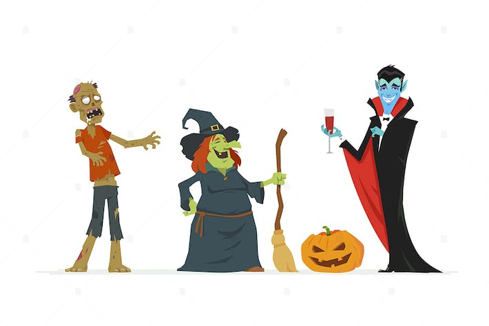 Thumbnail for Halloween characters - vector illustration