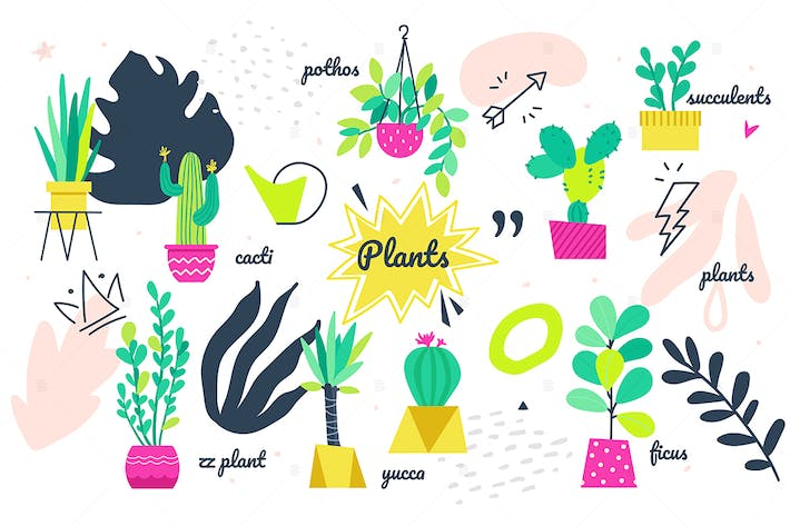Thumbnail for Potted plants collection - set of bright elements