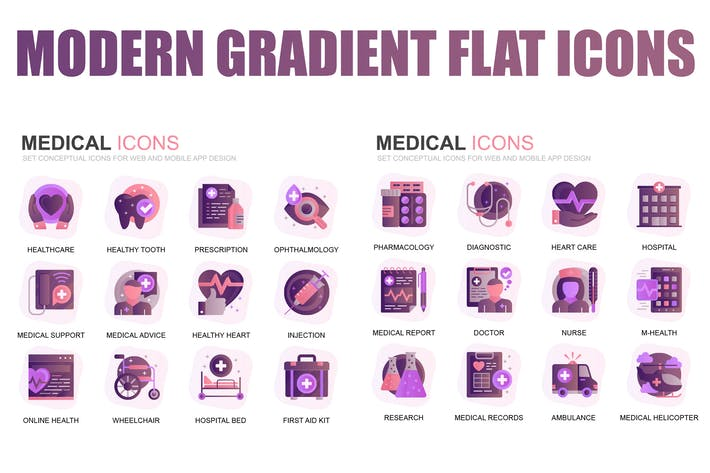 Thumbnail for Modern Set Gradient Flat Icons