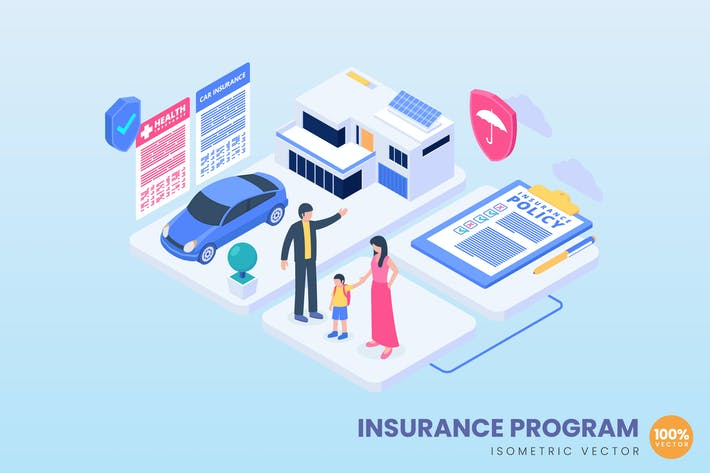Isometric Insurance Program Concept