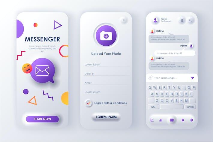 Thumbnail for Messenger Neumorphic Mobile App UI Kit