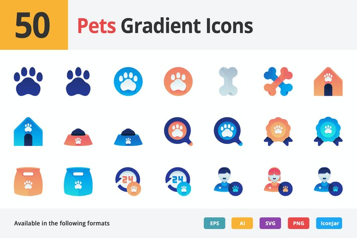 Cover Image For Pets and Animals Vector Gradient Icons