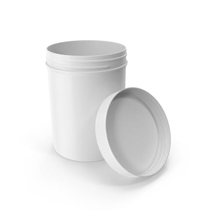 White Plastic Jar Wide Mouth Straight Sided 8oz Open