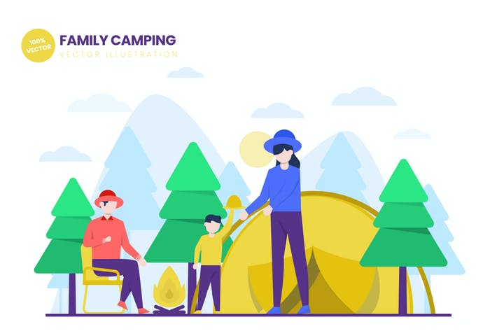 Thumbnail for Family Camping Flat Vector Illustration