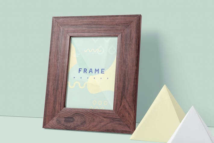 Thumbnail for Small Portrait Wooden Picture Frame Mockups