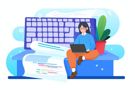 Woman coding programs by herself