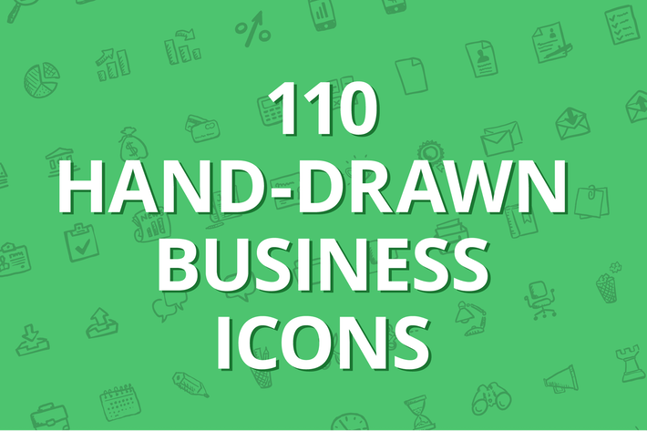 Thumbnail for 110 hand-drawn business icons