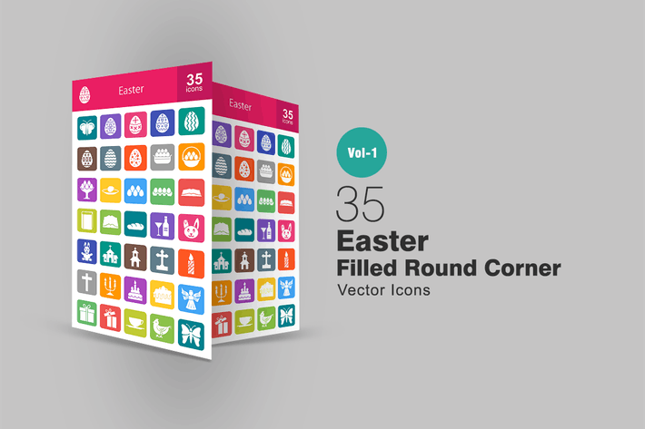 Thumbnail for 35 Easter Filled Round Corner Icons