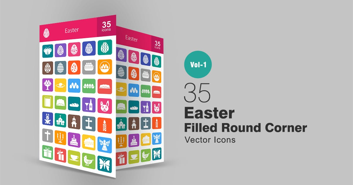 35 Easter Filled Round Corner Icons by Unknow