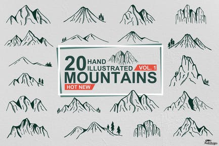 Hand illustrierte Berge Vol 1